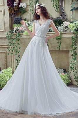 Timeless Lace Appliques Tulle 2020 Wedding Dress Cap Sleeve Beadings Zipper_1