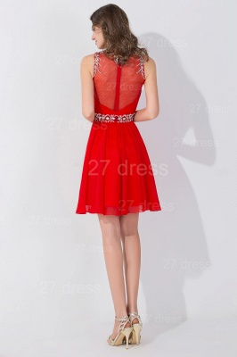 Elegant Sleeveless Red Chiffon homecoming Dress High Neck With Beadings Crystals_5