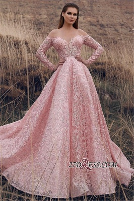 Pink Lace Applique Long-Sleeves A-Line Prom Dress | Elegant Off-The-Shoulder Princess Prom Gown_2