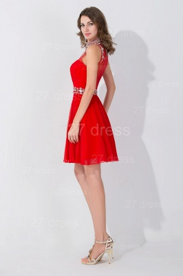 Elegant Sleeveless Red Chiffon homecoming Dress High Neck With Beadings Crystals_3