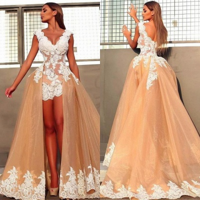 Sexy V-Neck Sleeveless 2020 Prom Dresses   Lace Appliques Evening Gowns With Ruffles BC0899_4