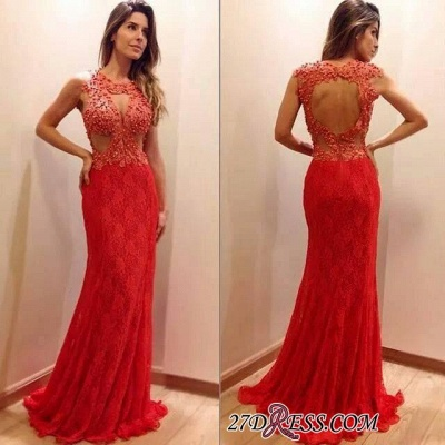 2020 Newest Sleeveless Mermaid Lace-Appliques Sweep-Train Prom Dress_1