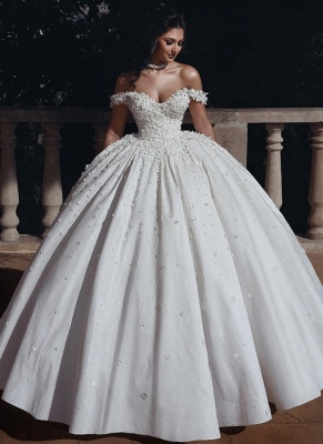 Elelgant Off Shoulder Beaded Bridal Gowns Flowers Ball Gown Wedding Dress_1