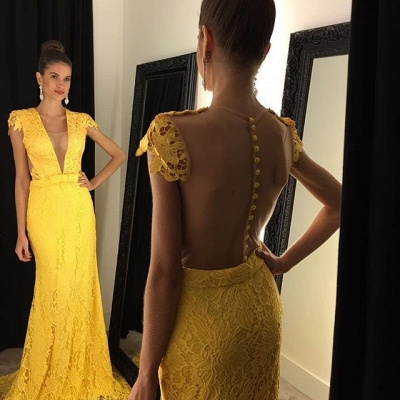 Modern Yellow V-neck 2020 Prom Dress Cap Sleeve Lace AP0_2