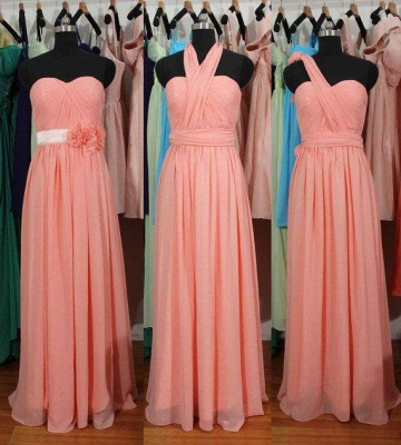 Simple A-Line Chiffon Convertible Bridesmaid Gowns Ruffles Evening Dresses_1