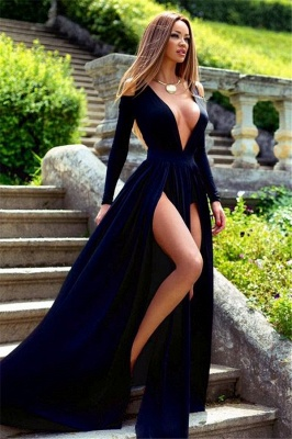 Sexy Long Sleeve Deep V-Neck 2020 Prom Dress Slit Party Gowns BA3599_1