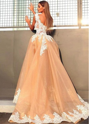 Sexy V-Neck Sleeveless 2020 Prom Dresses   Lace Appliques Evening Gowns With Ruffles BC0899_3