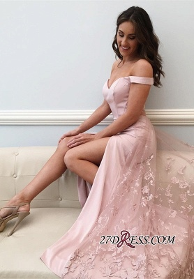 Off-the-Shoulder 2020 prom dress,pink evening party dress with slit_2