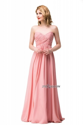 Bridesmaid Floor-Length Simple Chiffon Dress Ruffled Strapless Prom Dress_6