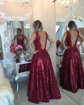 Glamorous Lace Appliques A-line Prom Dress 2020 Sequins Beadings_2