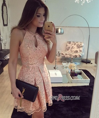 Short Keyhole A-Line Halter Sleeveless Lace Homecoming Dress_3