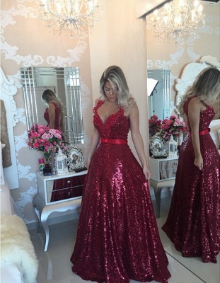Glamorous Lace Appliques A-line Prom Dress 2020 Sequins Beadings_1