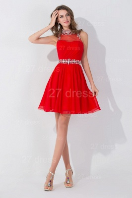 Elegant Sleeveless Red Chiffon homecoming Dress High Neck With Beadings Crystals_2
