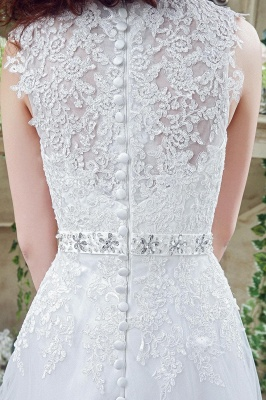 Timeless Lace Appliques Tulle 2020 Wedding Dress Cap Sleeve Beadings Zipper_5