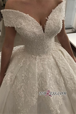 Ball-Gown Off-the-shoulder Appliques Lace Glamorous V-neck Wedding Dresses_2