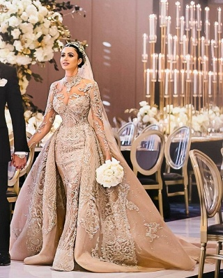 Luxury Long Sleeves Ball Gown Wedding Dresses | High Neck Over Skirt Bridal Gowns BC0918_2