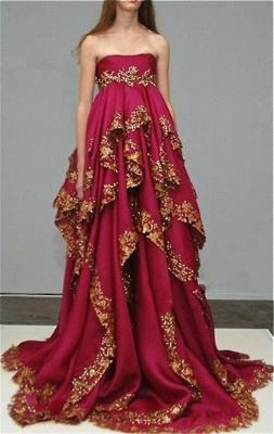 Delicate Burgundy Lace Appliques Evening Dress 2020 Ruffles Strapless_1