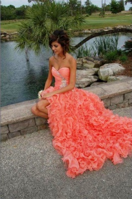 Modern Sweetheart Sleeveless Hi-Lo Prom Dress Beadings Lace-up Ruffles Evening Gown_5