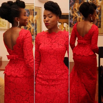 Sexy Red Lace Evening Dress 2020 Long On Sale_2