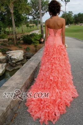 Modern Sweetheart Sleeveless Hi-Lo Prom Dress Beadings Lace-up Ruffles Evening Gown_4