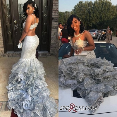 Fashion Two Pieces Mermaid Prom Dresses | Spaghetti Straps Ruffles Evening Dresses BK0 BC1253_2