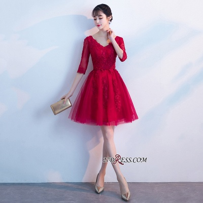 Short Appliques Lace Half-Sleeves Cheap See-Through V-neck Homecoming Dresses_1