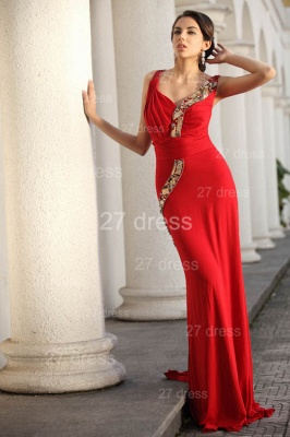 Sexy Red V-Neck Prom Gowns 2020 Ruffles Sweep Train Evening Dresses with Beadings_4