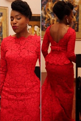 Sexy Red Lace Evening Dress 2020 Long On Sale_1