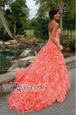 Modern Sweetheart Sleeveless Hi-Lo Prom Dress Beadings Lace-up Ruffles Evening Gown_3