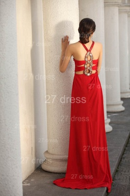 Sexy Red V-Neck Prom Gowns 2020 Ruffles Sweep Train Evening Dresses with Beadings_7