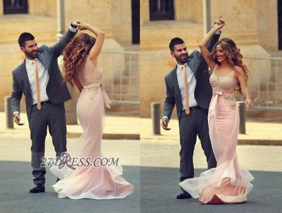 Glamorous Straps Pink Mermaid Prom Dress With Beadings_2