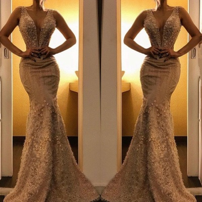 Luxurious Deep V-Neck Mermaid Sleeveless Evening Dress   2020 Floor-Length Lace Appliques Prom Gown_2