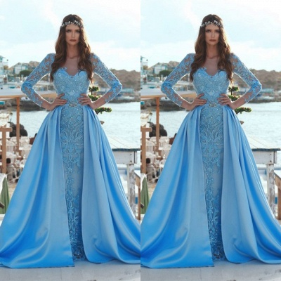 Exquisite Bateau Long Sleeves Evening Dress | Lace Applique Overskirt Prom Gown_2