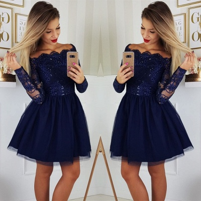 Elegant Long Sleeve Navy Homecoming Dresses   Lace Short Homecoming Dresses On Sale BC0062_3