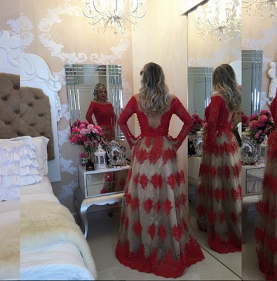 Modern Off-the-shoulder Red Prom Dress 2020 Lace Long Sleeve BA8928_2