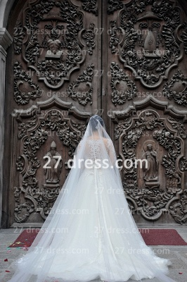 A-line Lace Sequins Beadings Wedding Dresses Appliques Vintage Tulle Sheer Bridal Gowns with Long Sleeves_4