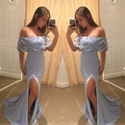 Elegant Off the Shoulder Ruffle Evening Dress Lace Mermaid Long With Split_3