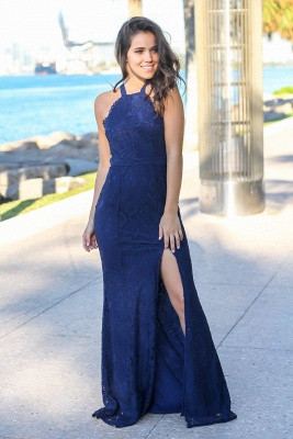 2020 Chic Halter Sleeveless Mermaid Front Split Prom Gown | Long Lace Navy Evening Dress_2