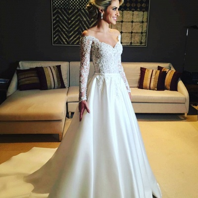 Elegant Long Sleeve Wedding Dresses | 2020 Lace Long Bridal Gowns_2