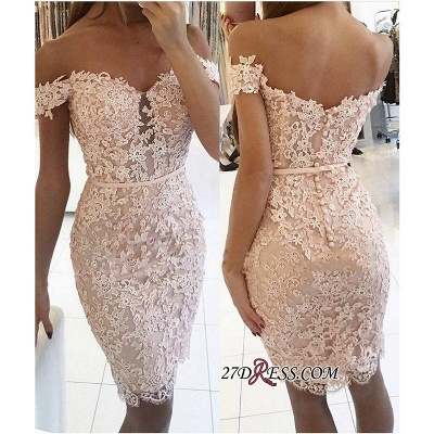 Buttons Lace Off-the-Shoulder Sexy Short Tight Homecoming Dress BA6358_2