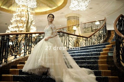 A-line Lace Sequins Beadings Wedding Dresses Appliques Vintage Tulle Sheer Bridal Gowns with Long Sleeves_5