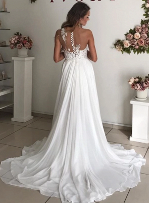 Strapless Sheer Tulle  Chiffon Wedding Dress Appliques A-line Bridal Gowns_2