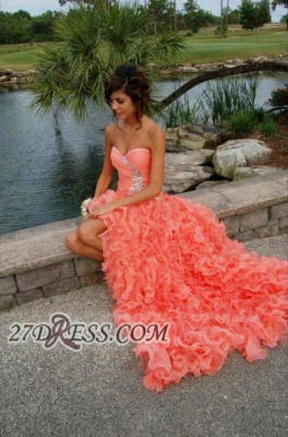 Modern Sweetheart Sleeveless Hi-Lo Prom Dress Beadings Lace-up Ruffles Evening Gown_1