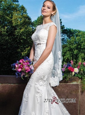 Mermaid Gorgeous Sleeveless Lace Button Zipper Wedding Dress_3