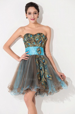 Modern Sweetheart Sleeveless Tulle Homecoming Dress With Peacock Beadings Crystals_2