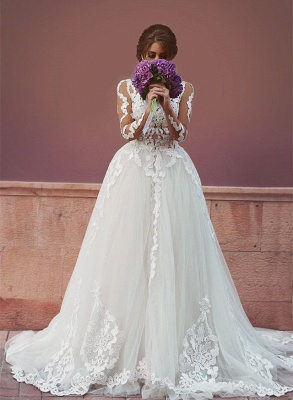 Delicate Tulle Lace Appliques Detached Wedding Dress 2020 Long Sleeve MH053_1