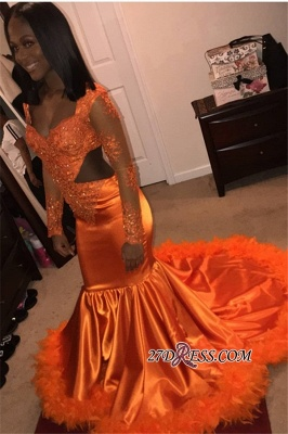 Feathers Long-Sleeves Mermaid Scoop Lace-Appliques Glamorous Cutaway Prom Dresses bk0 BC1154_4