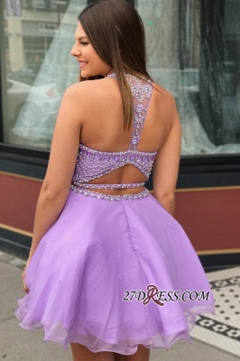 Short Beadings Purple Sexy A-line Homecoming Dresses_1