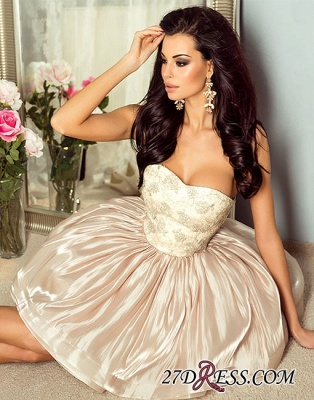 Hot Champagne Strapless A-line Cute Zipper Short Homecoming Dress_3