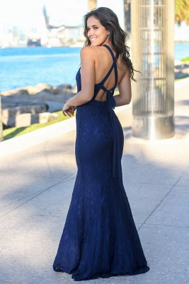 2020 Chic Halter Sleeveless Mermaid Front Split Prom Gown | Long Lace Navy Evening Dress_4